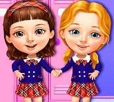 Sevimli Kızlarla Okul Temizliği